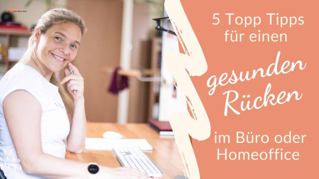 Blogbanner Top Tipps für einen gesunden Rücken im Homeoffice